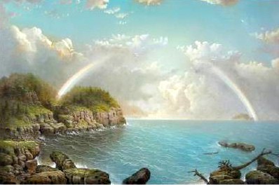 A Rocky Coast With Rainbow