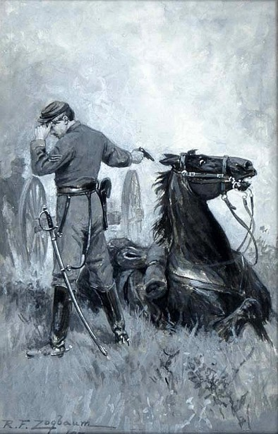 Civil War Officer Shooting His Horse