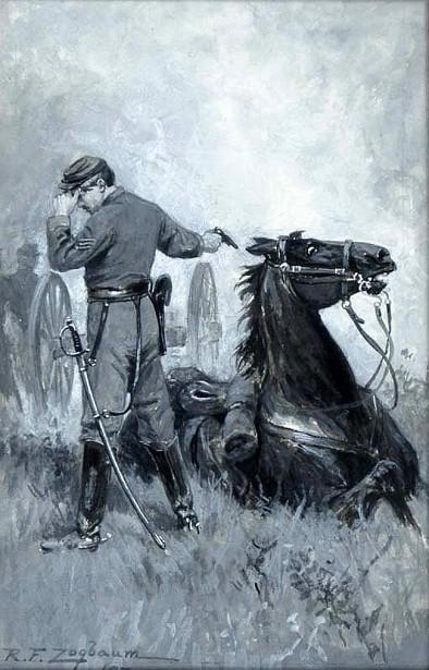 Civil War Officer Shooting His Horse