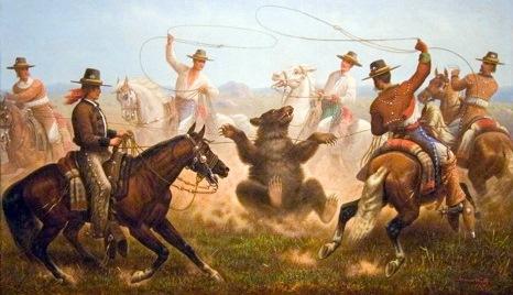 Cowboys Roping A Bear