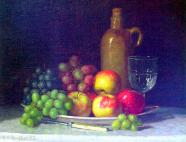 Fruit On A Plate With Jug And Wine Glass