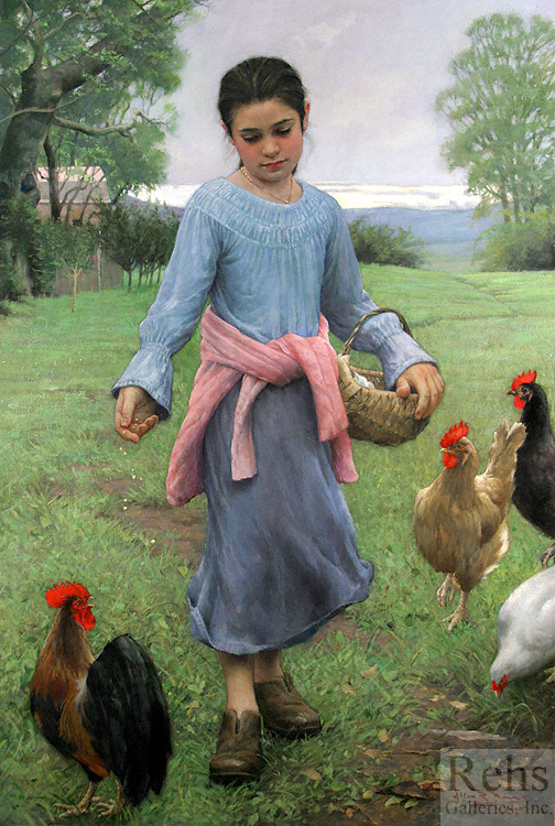 Girl Feeding Her Chickens