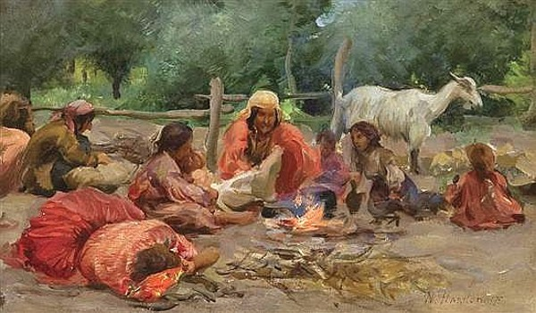 Gypsies By A Campfire