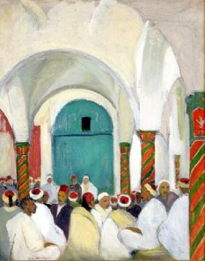 Interior Of A Tunisian Mosque With Congregants