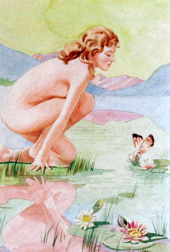 Kneeling Nude By Reflecting Pond