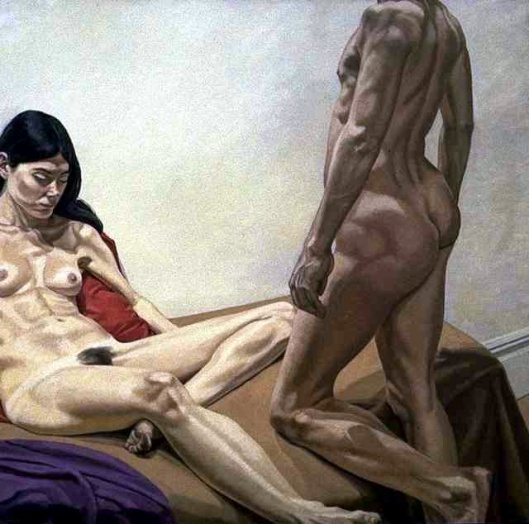 Male and Female Nudes With Red And Purple Drape