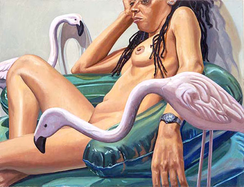 Model With Two Cement Flamingos