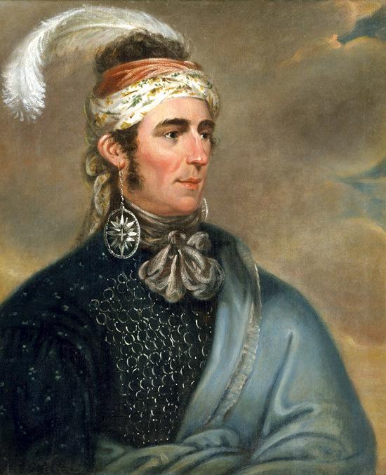 Portrait of Major Norton, The Mohawk Chief Teyoninhokarawen