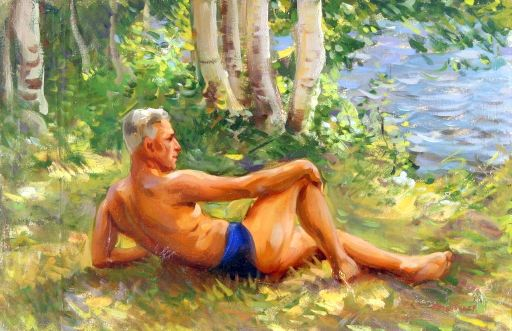 Reclining Male Figure In The Forest