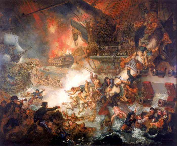 ===La guerra en la pintura=== The-battle-of-the-nile-destruction-of-lorient-august-1-1798