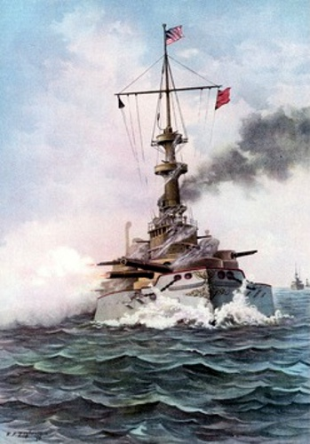 The United States Battle-Ship Indiana At Target Practice