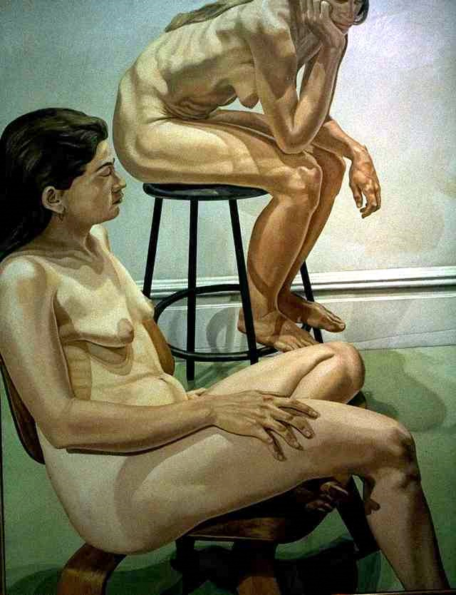 Two Seated Female Nudes, One On A Stool