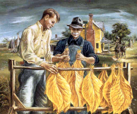 Unstringing Tobacco Leaves