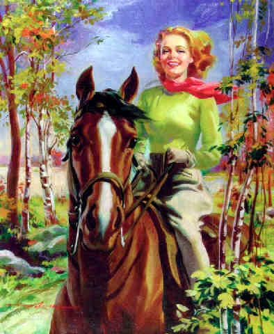 Woman Riding Horse In Autumnal Landscape