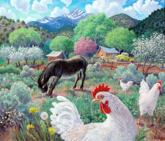 Donkey With Chickens