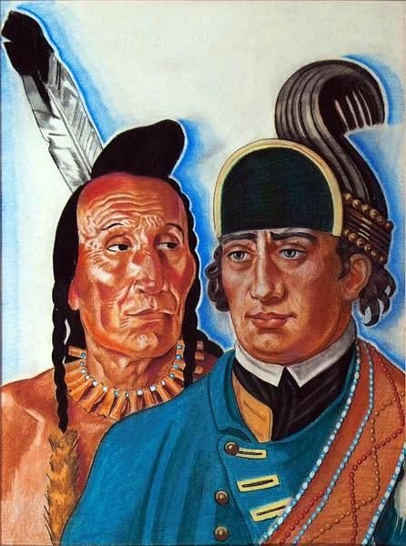 Heads Of Major Rogers And Indian Chief