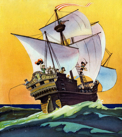 Peter Pan And The Darling Children At Sea