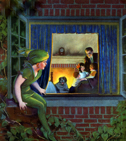 Peter Pan Watching Happy Family