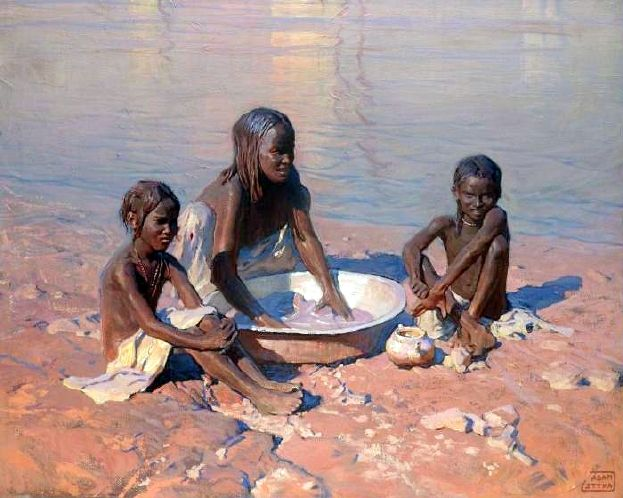 Mother With Children On The River Bank
