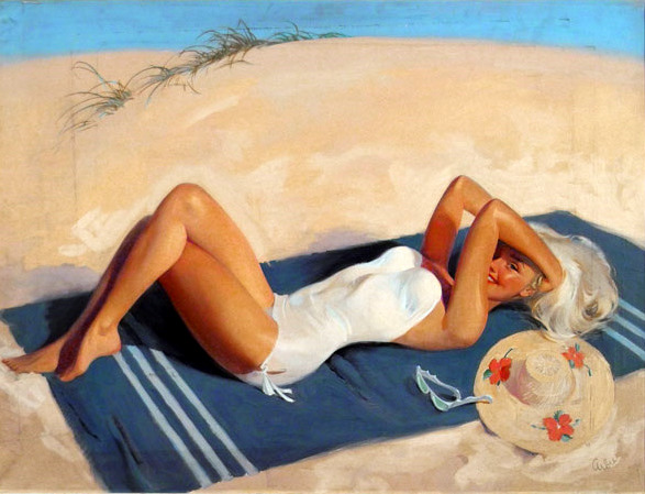 Woman Reclining On Beach