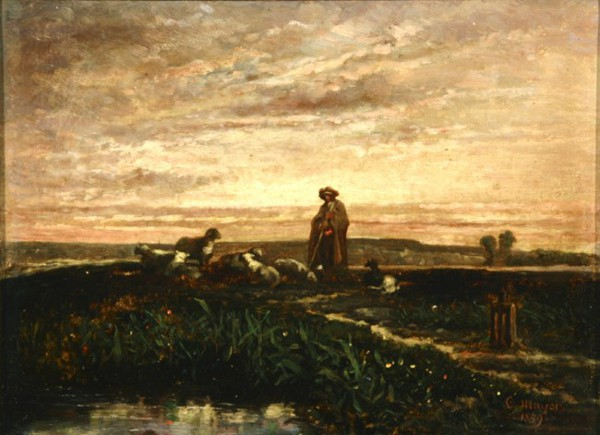 Shepherd With Flock, Sunset