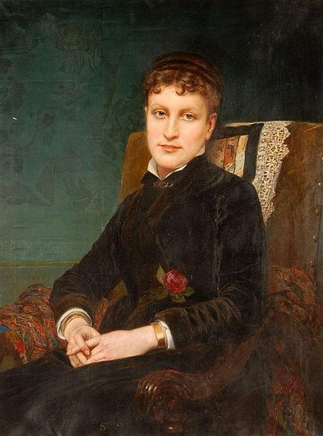 Young Woman In Black With A Red Rose