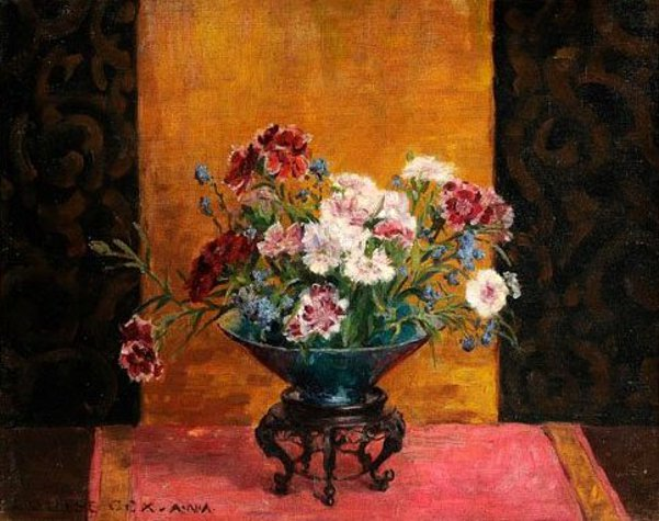 Still Life With Dianthus In An Asian Bowl