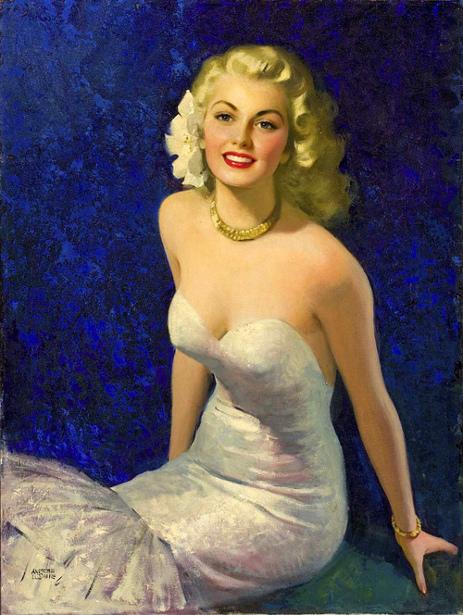 Blond In White Evening Dress