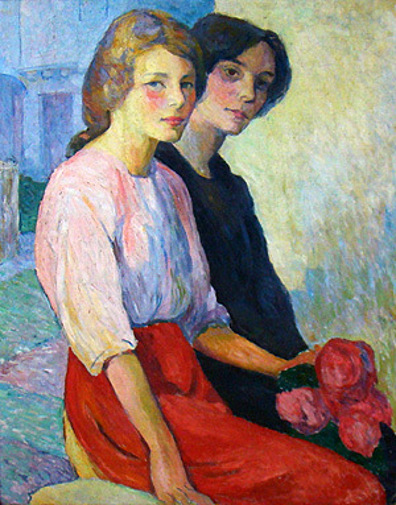 Two Women Holding Roses - Douarnez Ladies