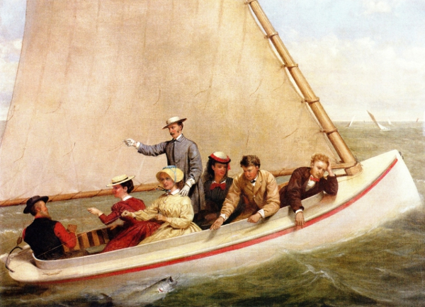 Fishing In A Catboat In Great South Bay