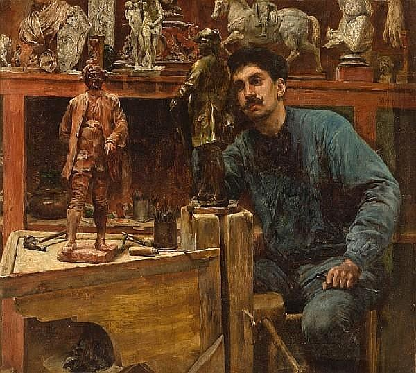 Sculptor In Studio