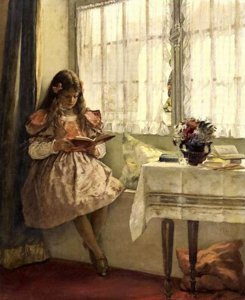 Young Girl Reading By The Window