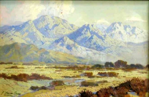 Desert Scene With Distant Mountains