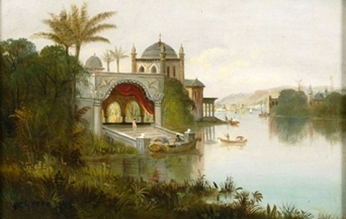 View Of An Indian Palace Beside A River