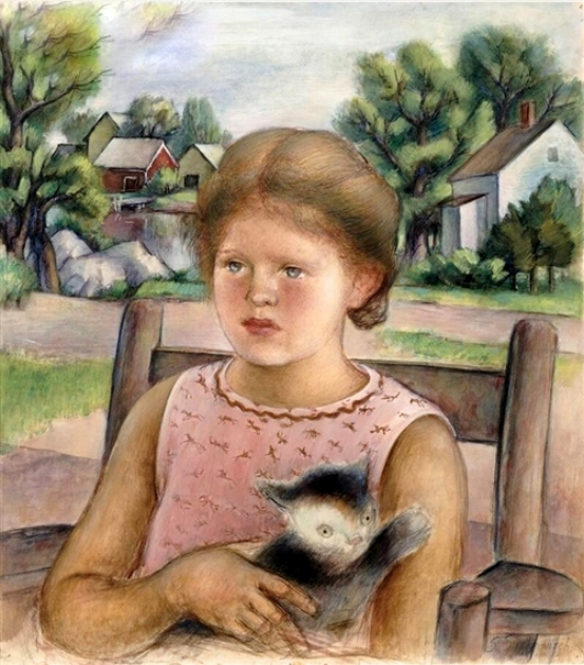 Sonya, The Artist's Daughter, With Cat