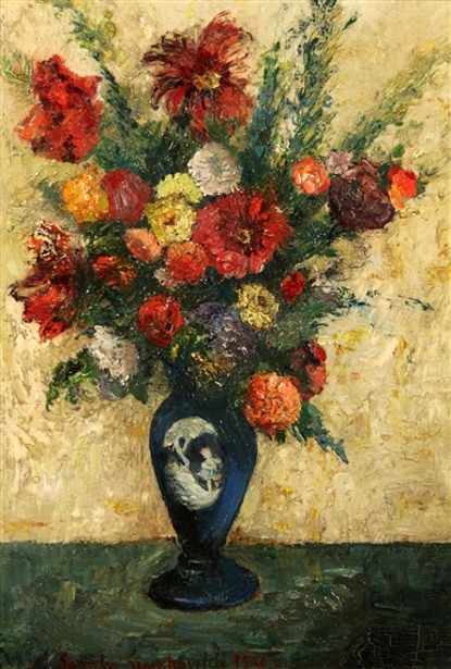Still Life Of Flowers In A Blue Vase