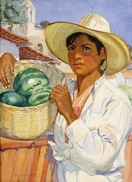 Young Man Holding A Basket Of Watermelons