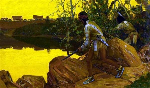 Indians In Ambush On A Wagon Trail