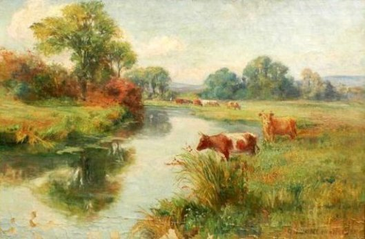 Landscape With River And Grazing Cattle
