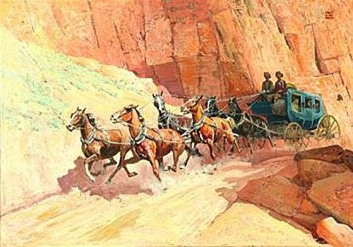 Stagecoach Traveling Through A Canyon