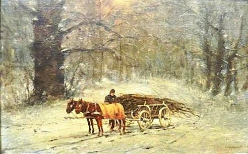 Wood Cart In Winter