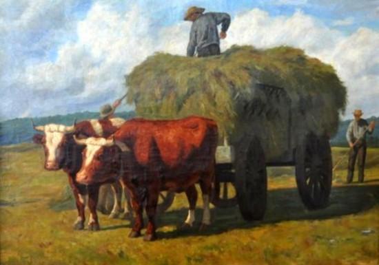 Farmer Pitching Hay