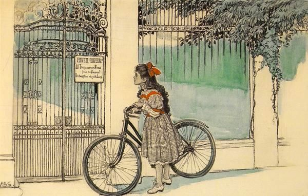 cartoon girl on bike. Girl With Bicycle Pauses At