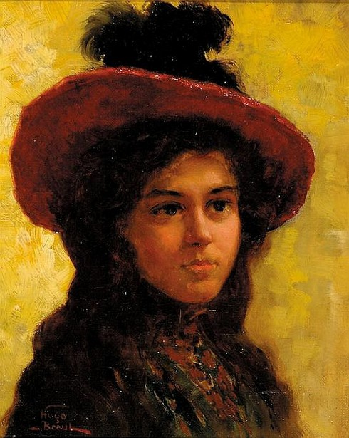 Young Woman With Feathered Hat