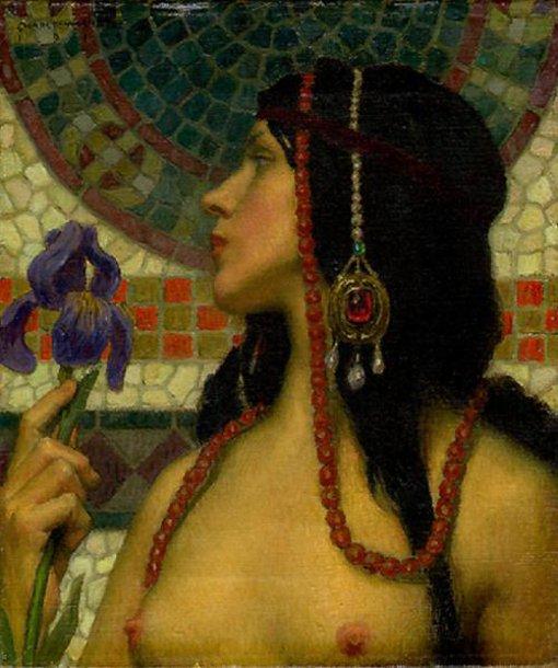 Nude With Purple Iris