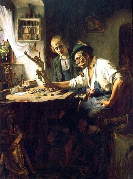 Muskarci na slikarskom platnu Woodcarver-of-obermmergau