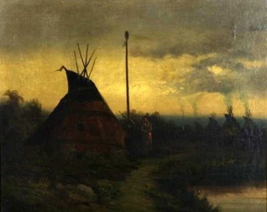 Indian Camp At Night