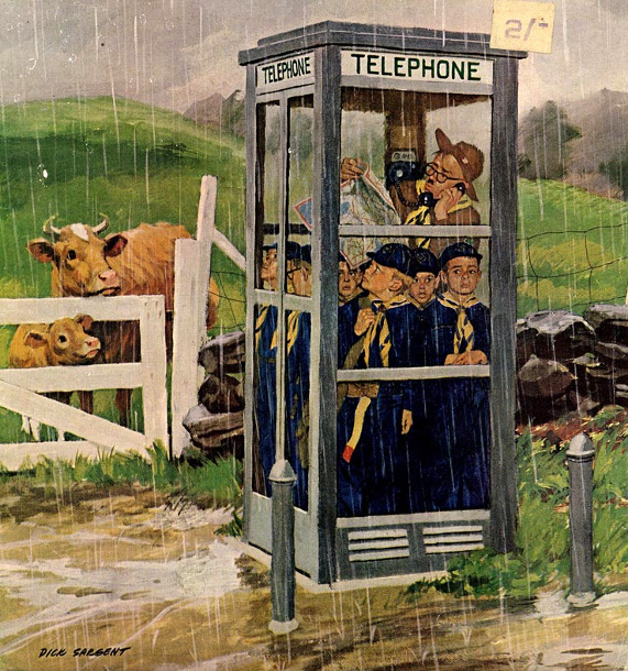 Cub Scouts in phonebooth, Dick Sargent, via American Gallery