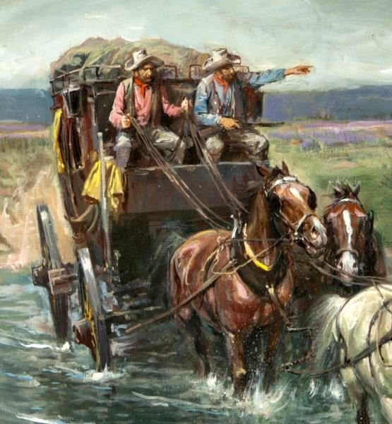 Stage to Denver #197328 | Paintings for Sale  |Large Western Stagecoach Art