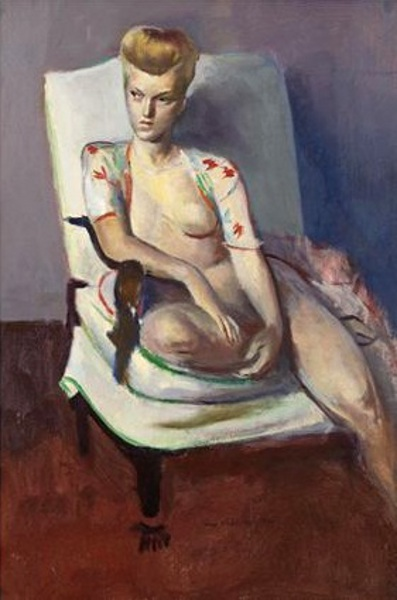 Seated Blonde Nude With Flowered Robe
